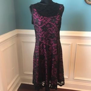 Black Lace Dress with hot pink underlay